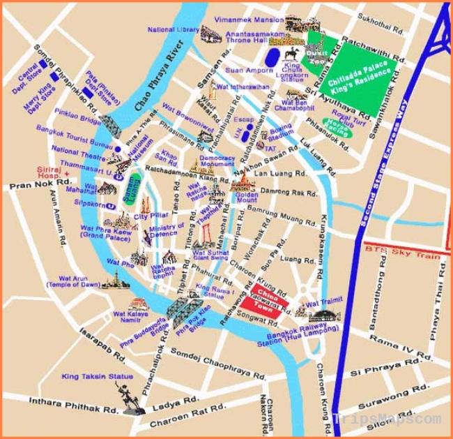 Bangkok Map Tourist Attractions - TravelQuaz.Com ®