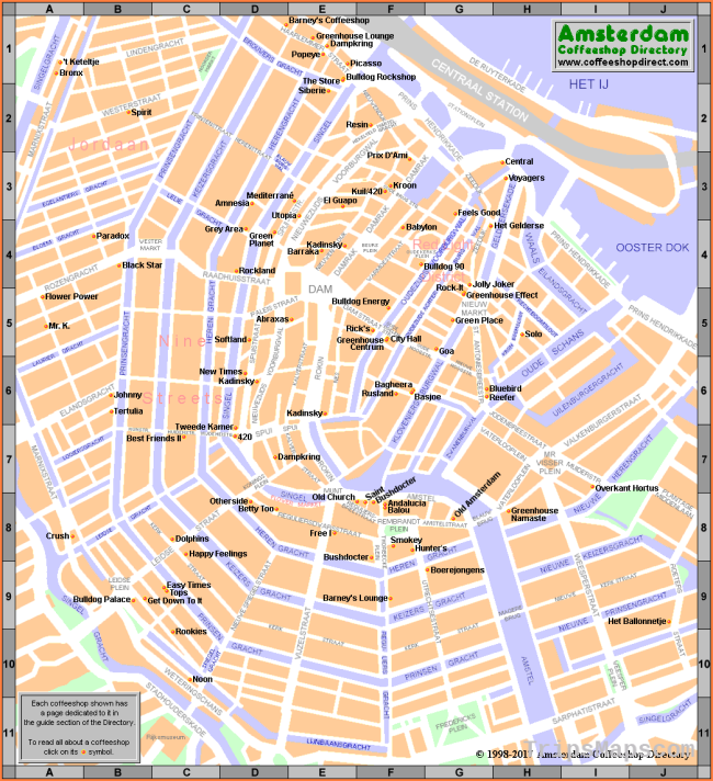 Map of Open Amsterdam Coffeeshops 2018 - ACD