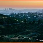 View Of Hollywood And Hills In Griffith Park At Sunset