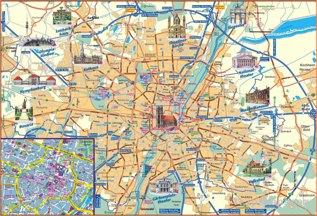 Detailed tourist map of Munich city. Munich detailed tourist map