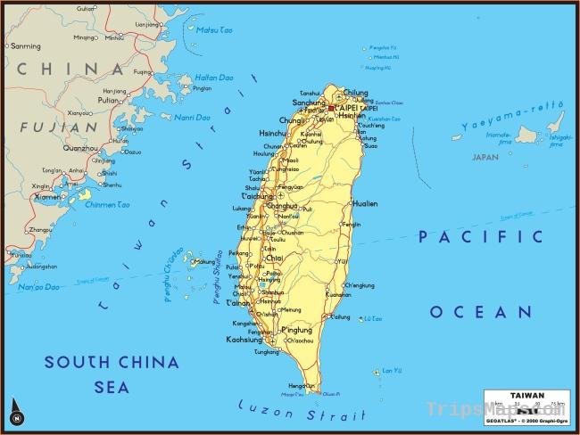 Taiwan Political Wall Map