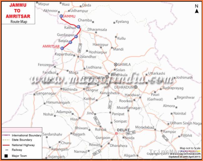 Jammu Amritsar Route Map