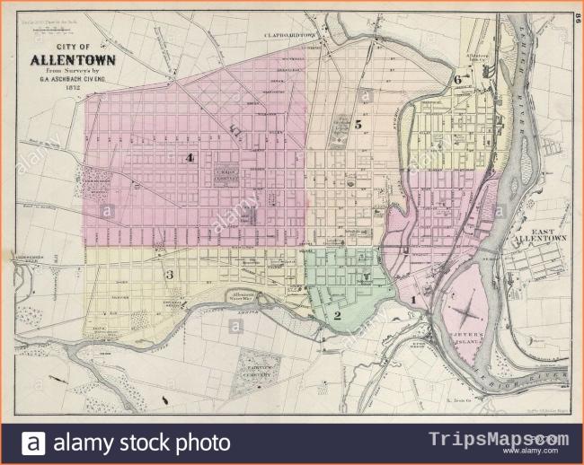 Vintage Map Of Allentown Stock Photos & Vintage Map Of Allentown