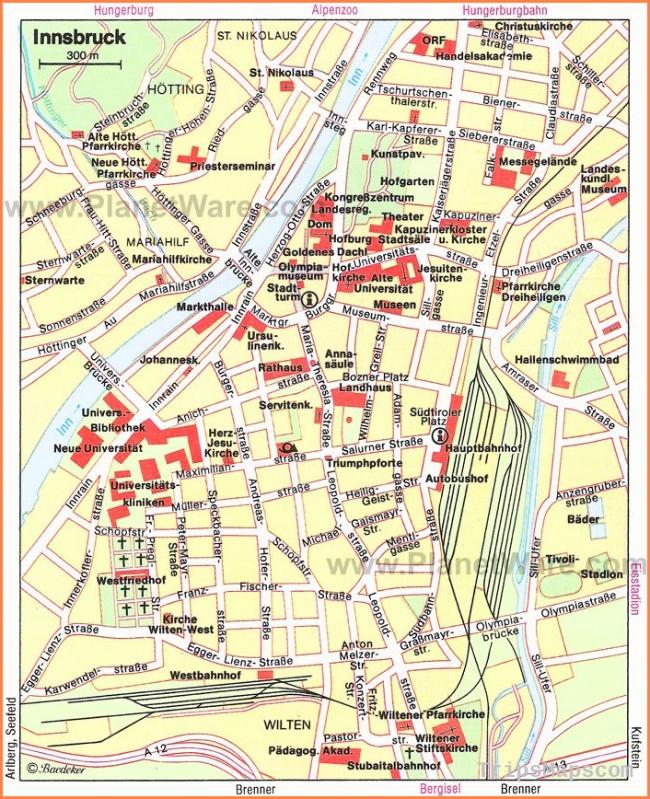 Innsbruck Map - Tourist Attractions | Fall Europe Trip Ideas in 2018
