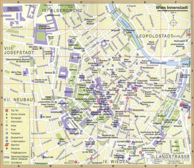 Vienna Austria tourist map - Vienna city tourist map (Austria)