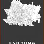 Bandung Black Stadskaart poster