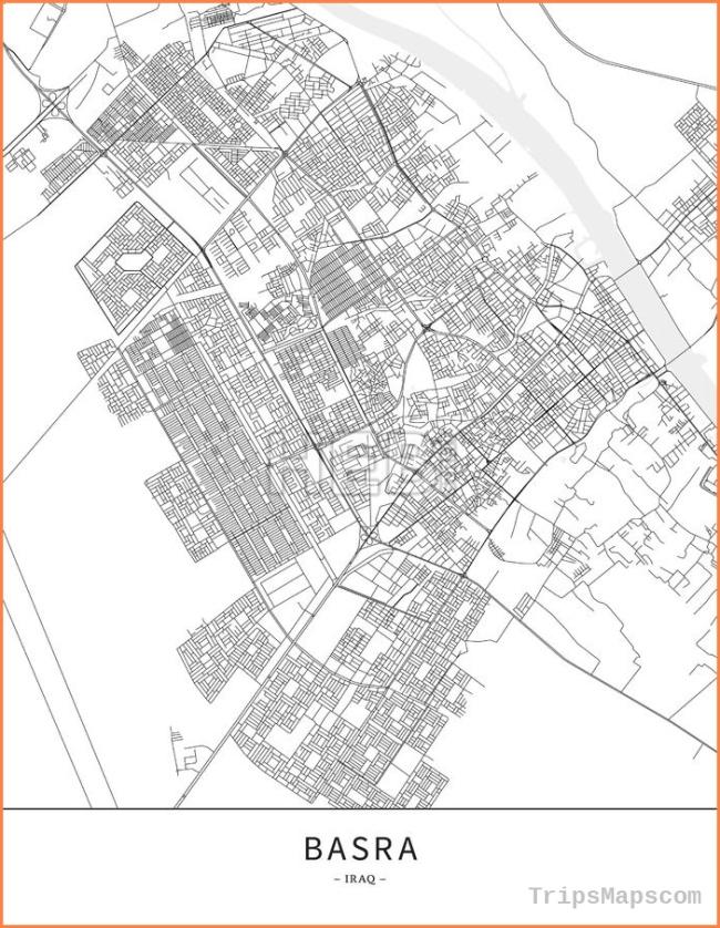 Basra, Iraq, Map poster borderless print template