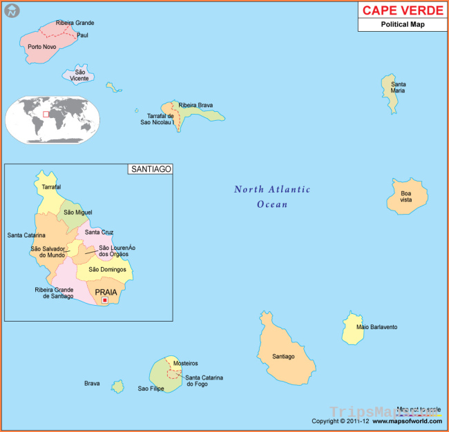 Cabo Verde Map, Map of Cabo Verde