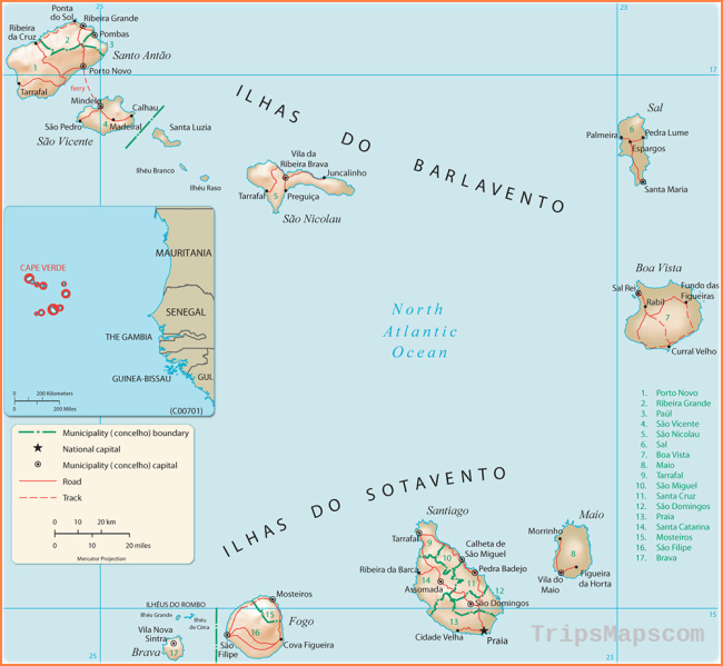 Map of Cape Verde - Cabo Verde, Travel Africa