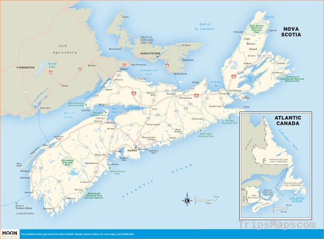 Printable Travel Maps of Atlantic Canada