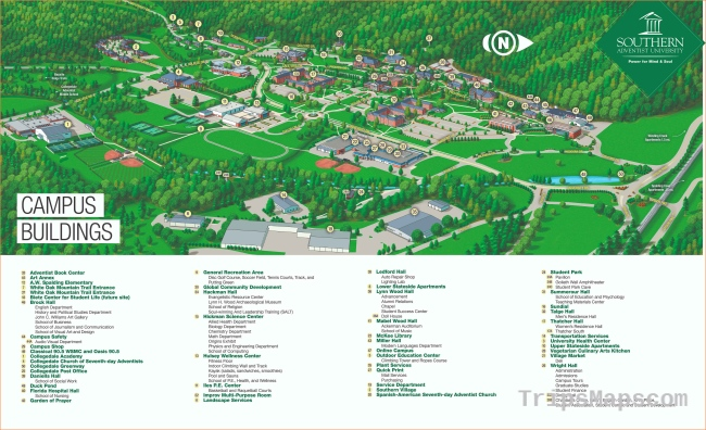 Maps and Directions   Southern Adventist University