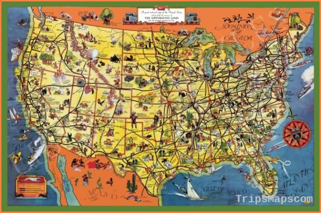 The Greyhound Lines Map of the United States