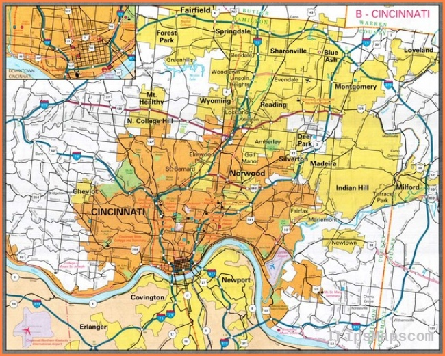 Cincinnati Ohio City Map - Cincinnati Ohio • mappery