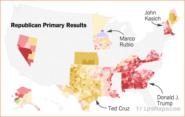 Detailed Maps of Where Trump, Cruz, Clinton and Sanders Have Won