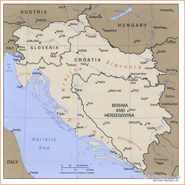 1Up Travel - Maps of Croatia.Balkans West (Bosnia, Croatia and