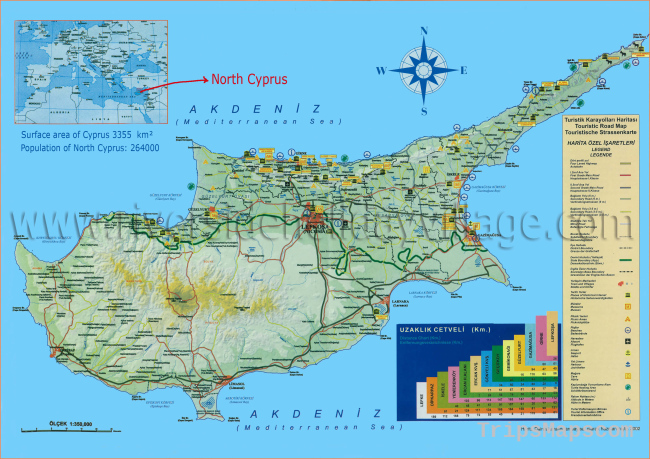 North Cyprus maps, Northern Cyprus tourist map by Riverside