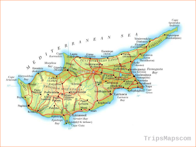 Maps of Cyprus | Detailed map of Cyprus in English | Tourist map of