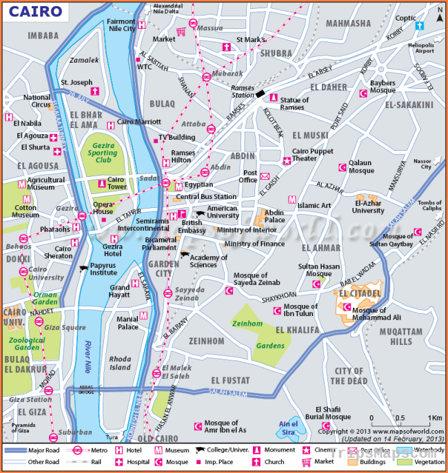 Cairo Map, Map of Cairo, Egypt