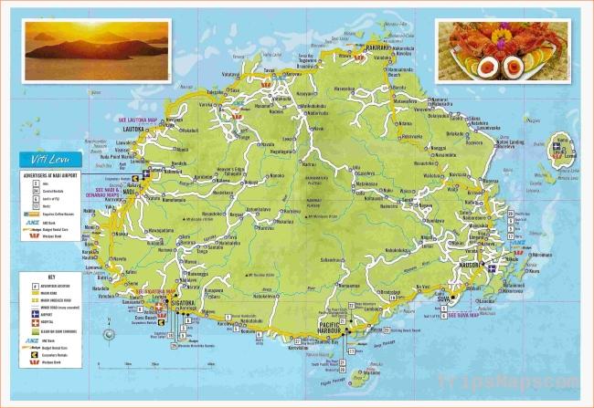 Large detailed tourist map of Viti Levu Fiji. Viti Levu Fiji large