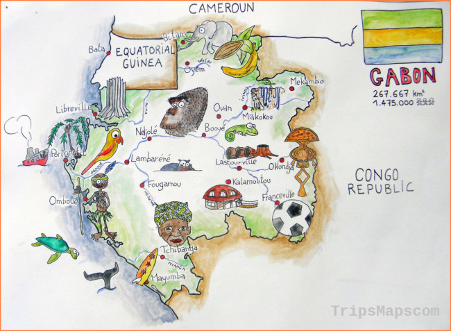 Large tourist illustrated map of Gabon | Gabon | Africa | Mapsland
