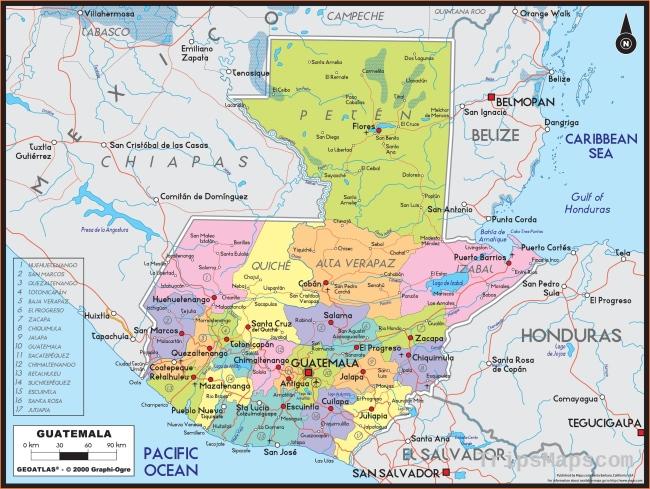 Guatemala Political Wall Map
