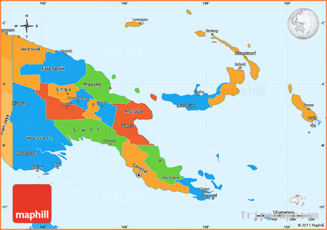 Political Simple Map of Papua New Guinea