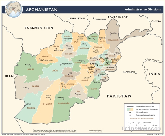 Afghanistan is located in Central Asia and its capital is Kabul