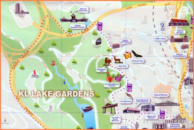 Kuala Lumpur Lake Gardens Map - Kuala Lumpur Malaysia • mappery