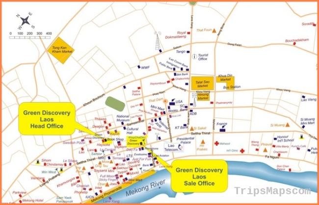 Laos City Tourist Map - Laos • mappery