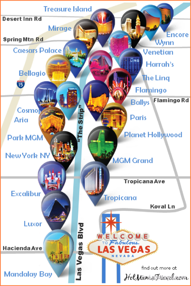 Las Vegas Strip Hotel Map: A very nice map of main hotels on the