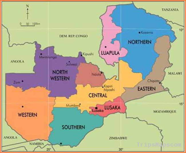 Zambia in Maps Major maps of Zambia, plus map of Africa