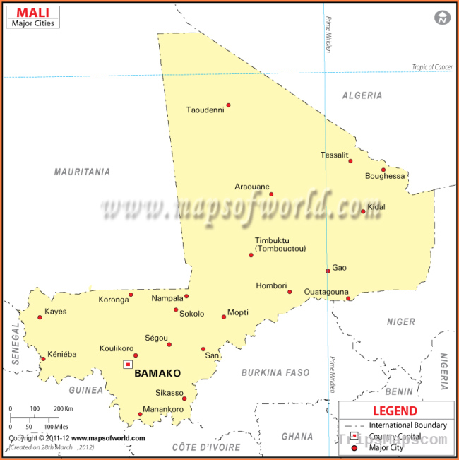 Mali Cities Map, Major Cities in Mali