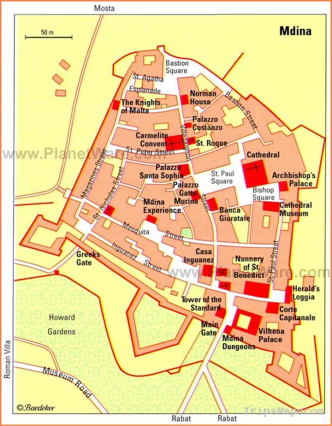 Mdina Map - Tourist Attractions