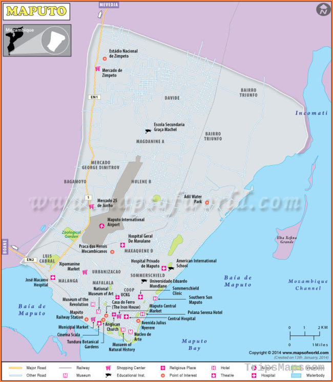 Maputo Map | Map of Maputo City, Mozambique