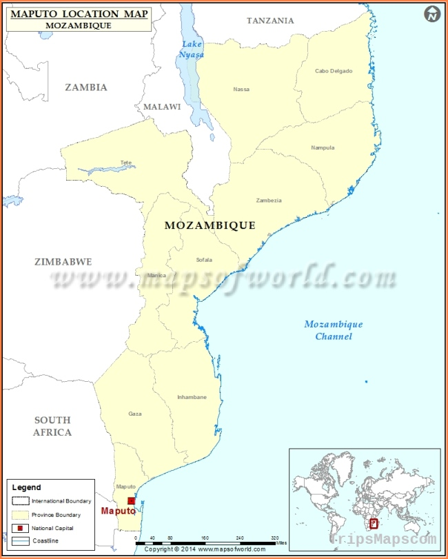 Where is Maputo | Location of Maputo in Mozambique Map