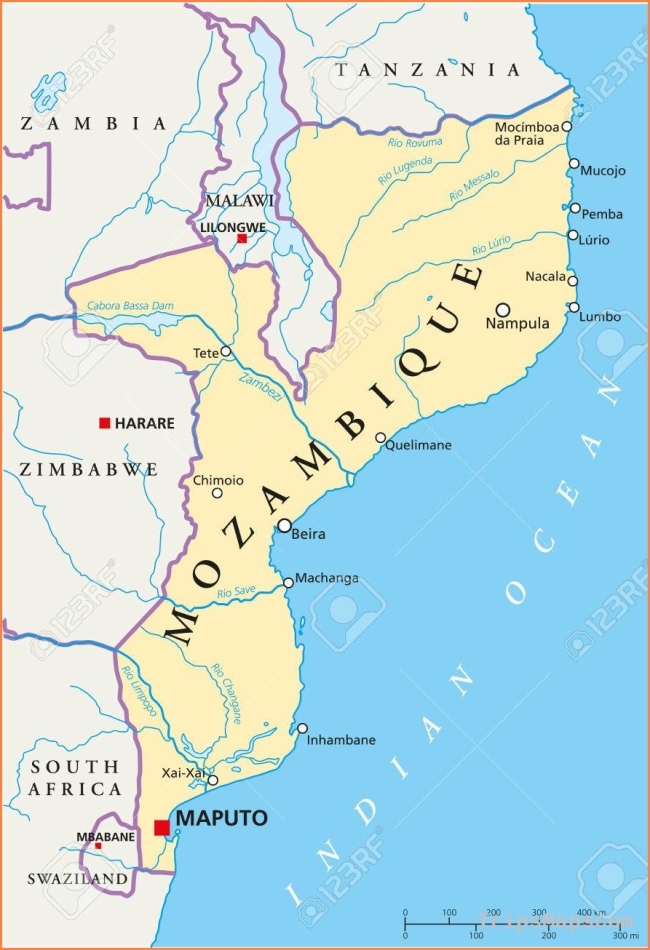 Mozambique Political Map With Capital Maputo, With National Borders