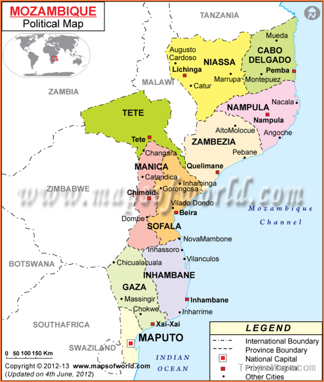 Political Map of Mozambique