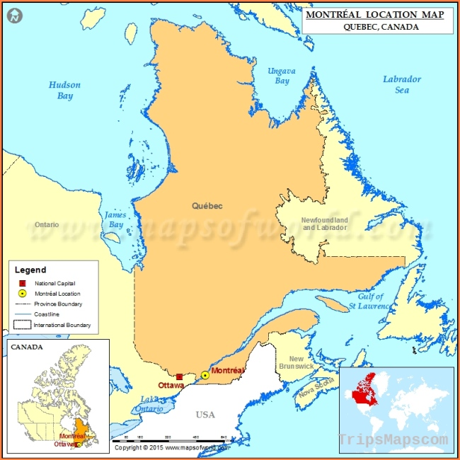 Where is Montreal Located in Canada Map