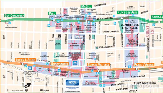 Montreal Underground City Map - Go! Montreal Tourism Guide