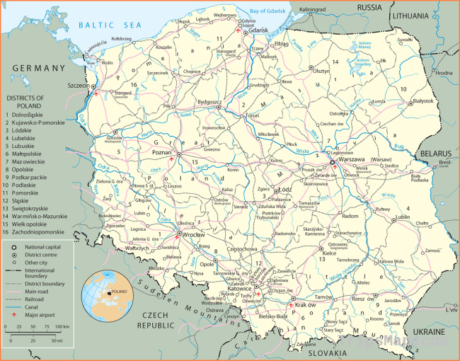 Map Poland - Travel Europe