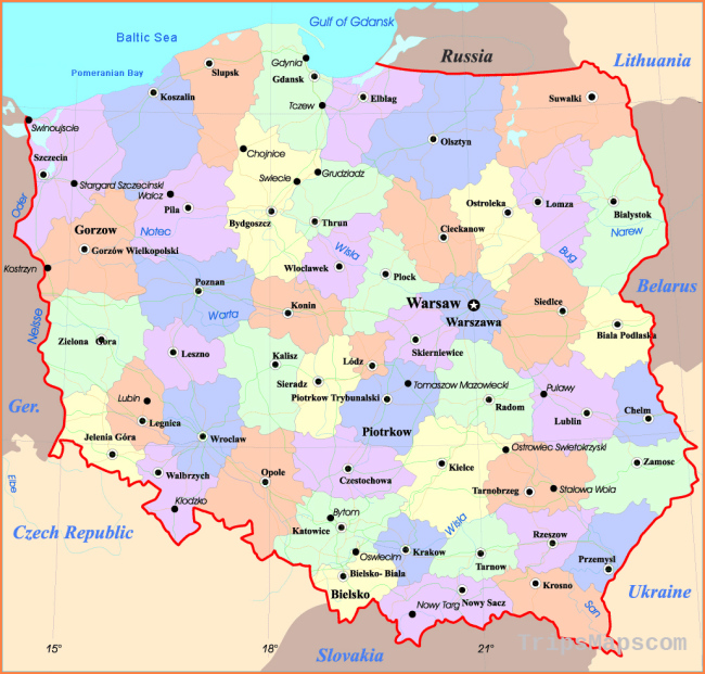 Maps of Poland | Detailed map of Poland in English