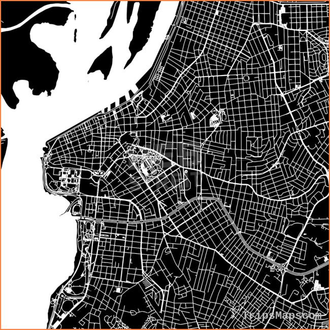 Porto Alegre, Brazil, downtown map, dark