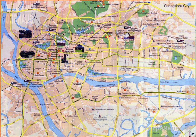 Large tourist map of Guangzhou in english | Vidiani.com | Maps of