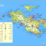 Large tourist map of Praslin Island (Seychelles) with all marks