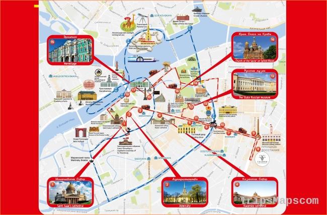 St Petersburg hop on hop off bus map - Hop on hop off St Petersburg