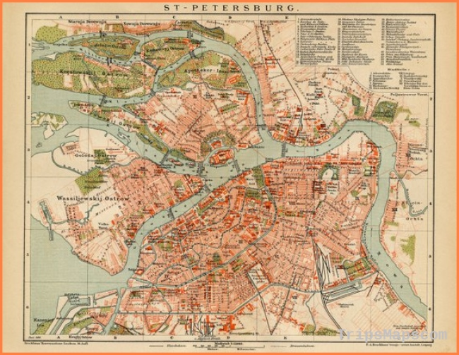 Map Art St. Petersburg Russia Map Poster Vintage Maps Old