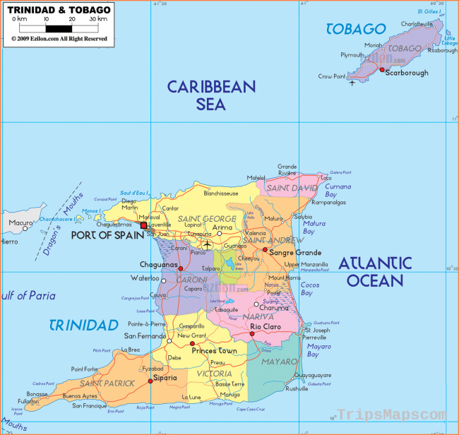 Large detailed administrative map of Trinidad and Tobago with cities