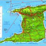 Detailed tourist and relief map of Trinidad island. Trinidad island