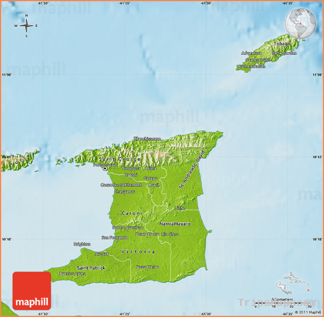 Physical Map of Trinidad and Tobago