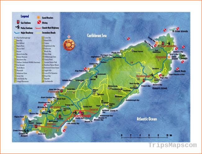 Large tourist map of Tobago | Trinidad and Tobago | North America ...